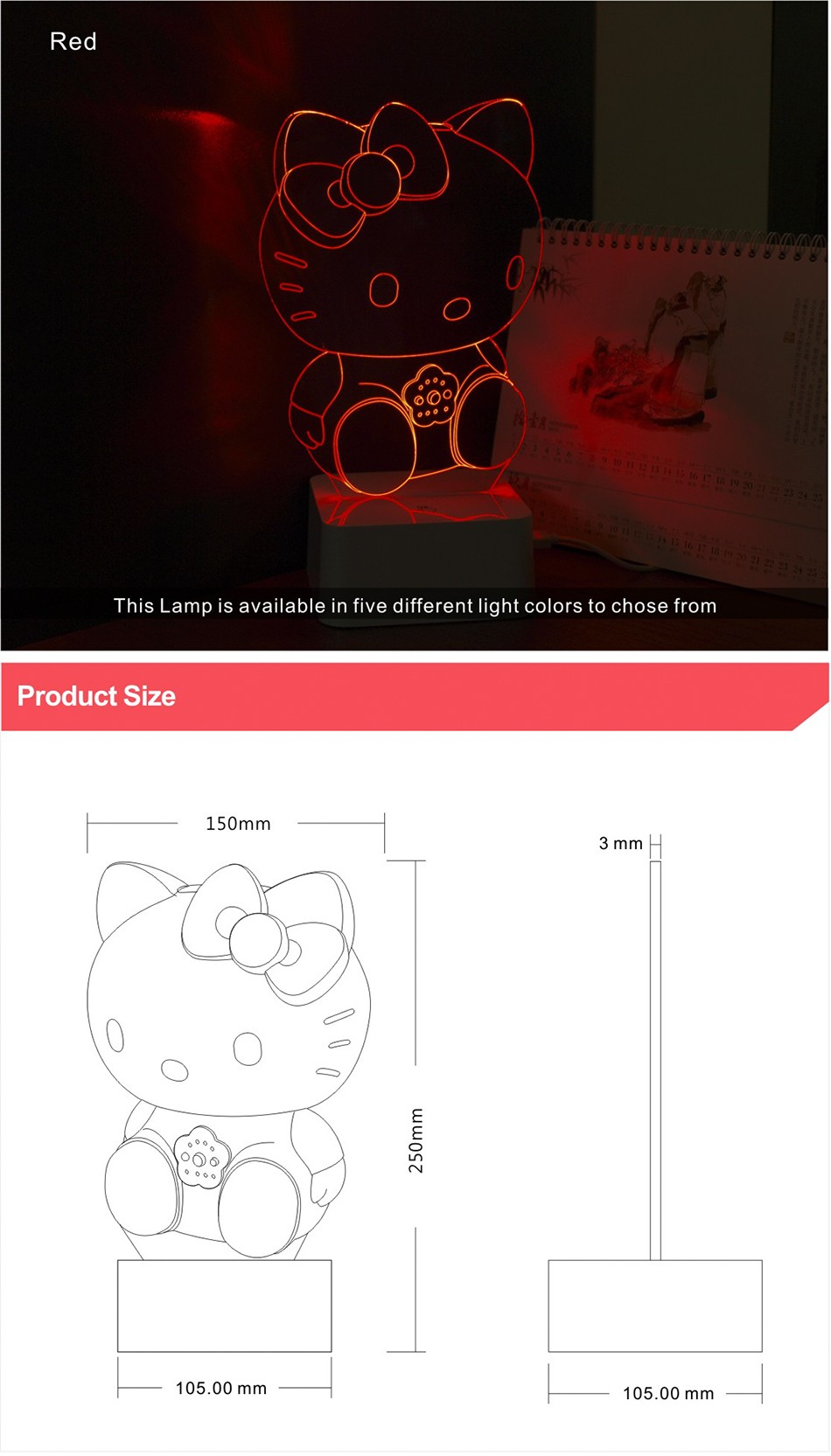 Novelty Art Decor Lamp 3d For luces de Hello Kitty Night Light  (5)