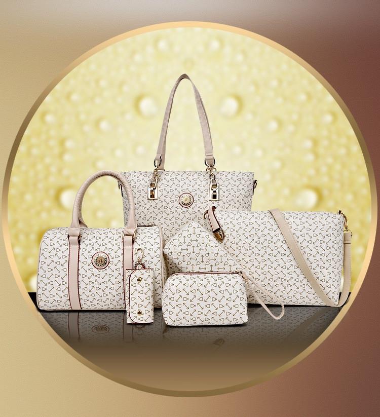 Dm Prime Fênix bolsas 5 peças brancas com detalhe bege