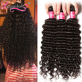 Brazilian Deep Wave 7A Brazilian Deep Curly Virgin Hair 3pcs/lot Unprocessed Brazilian Virgin Hair Bundles Hair Weaves Longqi
