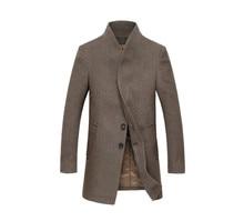 Мужская мода тонкий стильный плащ зиму куртка двубортный пальто мужчины пальто сгущать пальто мужчина куртка