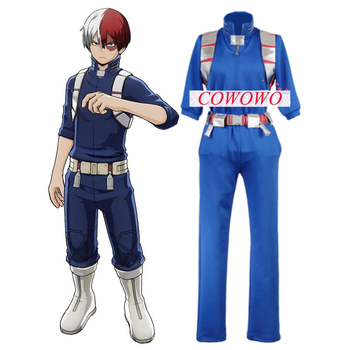 Anime! My Hero Academia Todoroki Shoto Combat Gear Gothic Blue Uniform Cosplay Costume Hallloween Unisex Suit Free Shipping