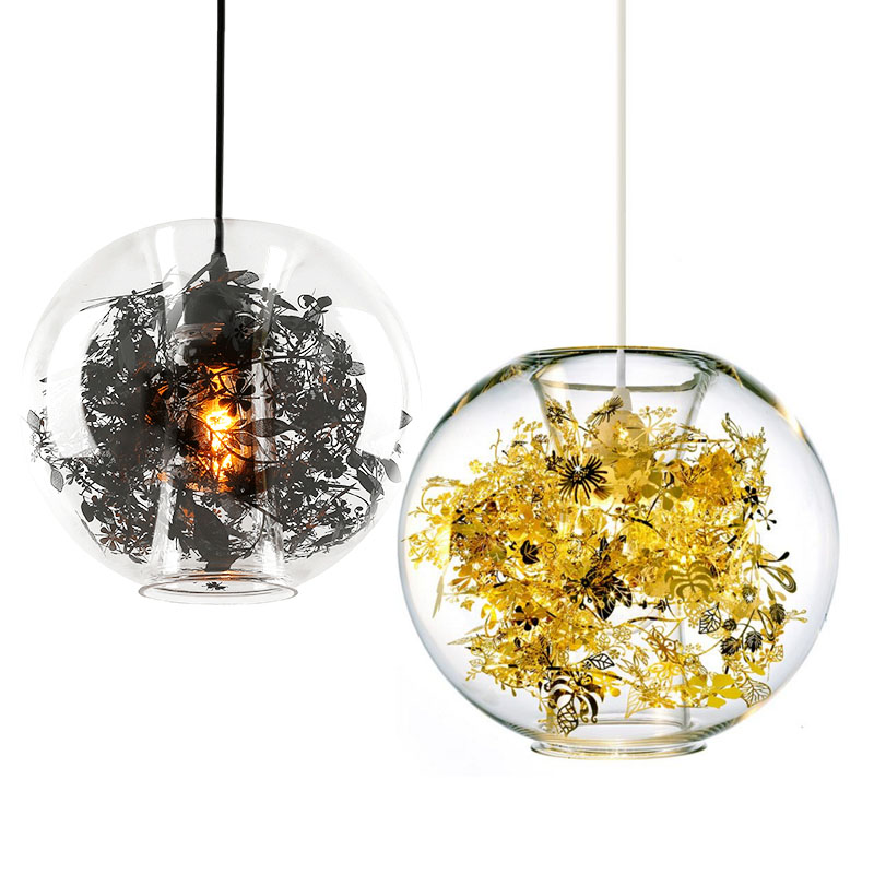 Simple Pendant Lights, glass lampshades with leaves, ultra-bright LED energy-saving bulbs,Children