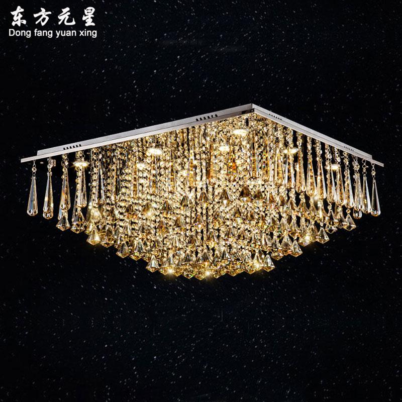 crystal chandelier lamp led light cognac color crystal square lighting bedroom living room lamp decoration
