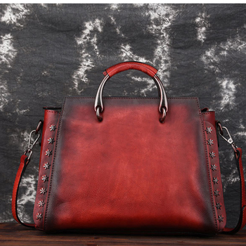 High Quality Genuine Leather Women Shoulder Cross Body Bags Leisure Brush Color Vintage Real Cowhide Rivet Single Messenger Bag