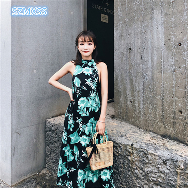 6782504a20f6 SZMXSS 2018 summer women's dress new fashion Thailand Bali Island back care  machine hanging neck open wind holiday long dresses