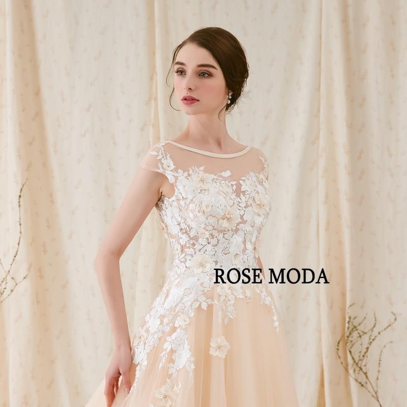 Rose Moda Modern 3D Blommigt Bröllopsklänning Låg V Tillbaka - Bröllopsklänningar - Foto 5