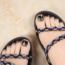 Uusi 24 kpl musta hohde koristelu söpö korkealaatuinen täydellinen kansi ranskalainen 3D toe-nauhat jalka kynsille kawaii jalka väärä kynsi [T136]