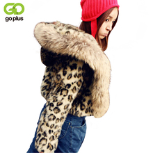 GOPLUS Fashion Autumn Winter Women Faux Fur Jacket Leopard Coat With Hooded Slim Warm Female Outerwear Fake Fur Coat C4379 faux shearling hooded coat