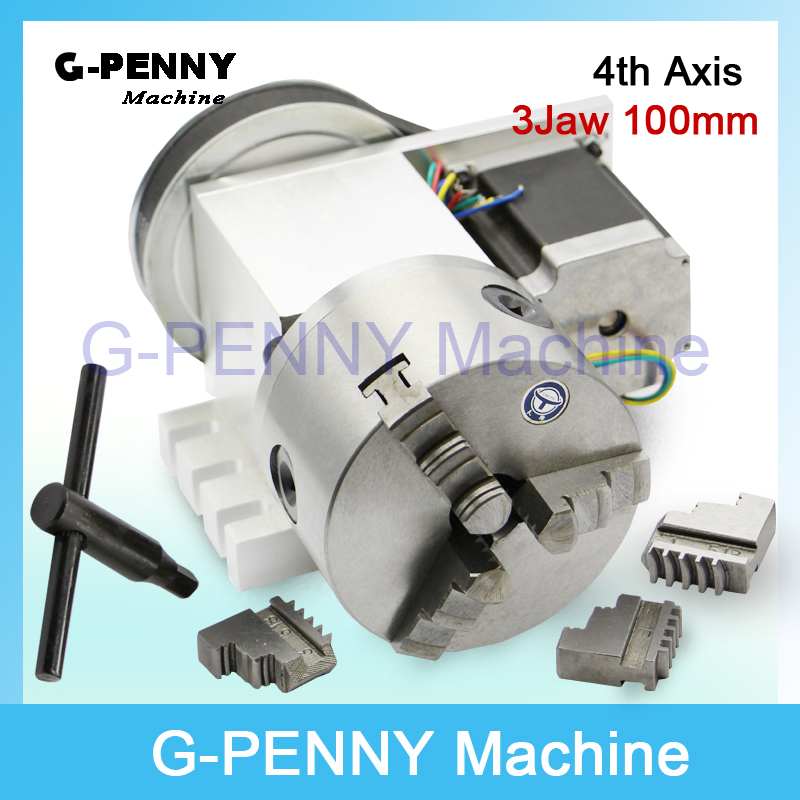3 Jaw 100mm chuck CNC 4th Axis CNC dividing head/Rotation