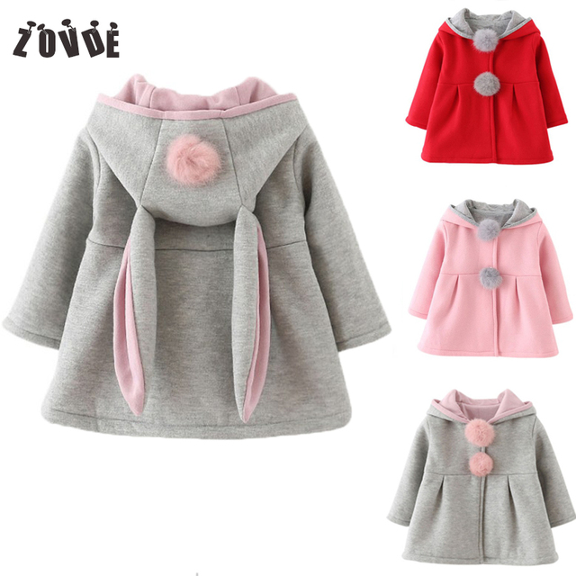 2018 Autumn Winter Baby Girls Jackets Rabbit Ears Hooded Casual Outerwear Coats Cotton Solid Color Gray Children Clothing