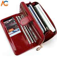 Alena Culian Hot Oil Wax Leather Women Wallet Retro Oil Skin Long Zipper Coin Bag carteira feminina Big Capacity Purse For Women
