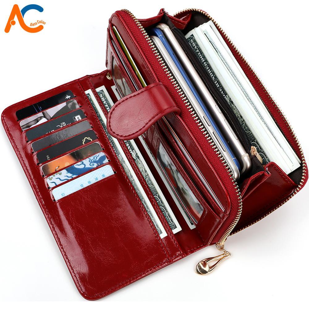 Alena Culian Hot Oil Wax Leather Women Wallet Retro Oil Skin Long Zipper Coin Bag carteira feminina Big Capacity Purse For Women