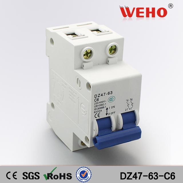 us $1 3 dz47 63 c6 manufacturing company c45n electrical miniature circuit breaker mcb 6a 2p in circuit breakers from home improvement onDz4763 Mini Circuit Breaker Mcb Open Electrical Technology Co #4