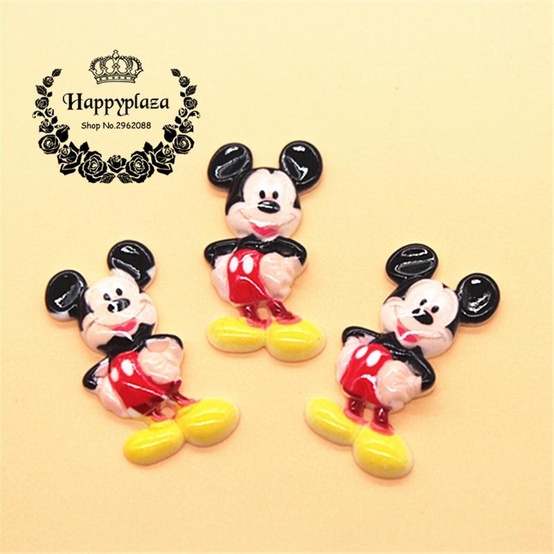 10pcs Cute Resin Mouse Flatback Cabochon Character Miniature Art DIY Decorative Craft Scrapbooking,17*31mm