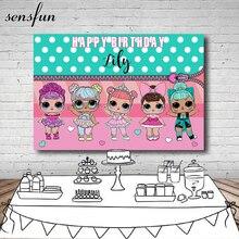 Sensfun девочек День рождения Фон фотографии в белый горошек мятно-зеленый розовый тема Фоны для фотостудии 7x5FT