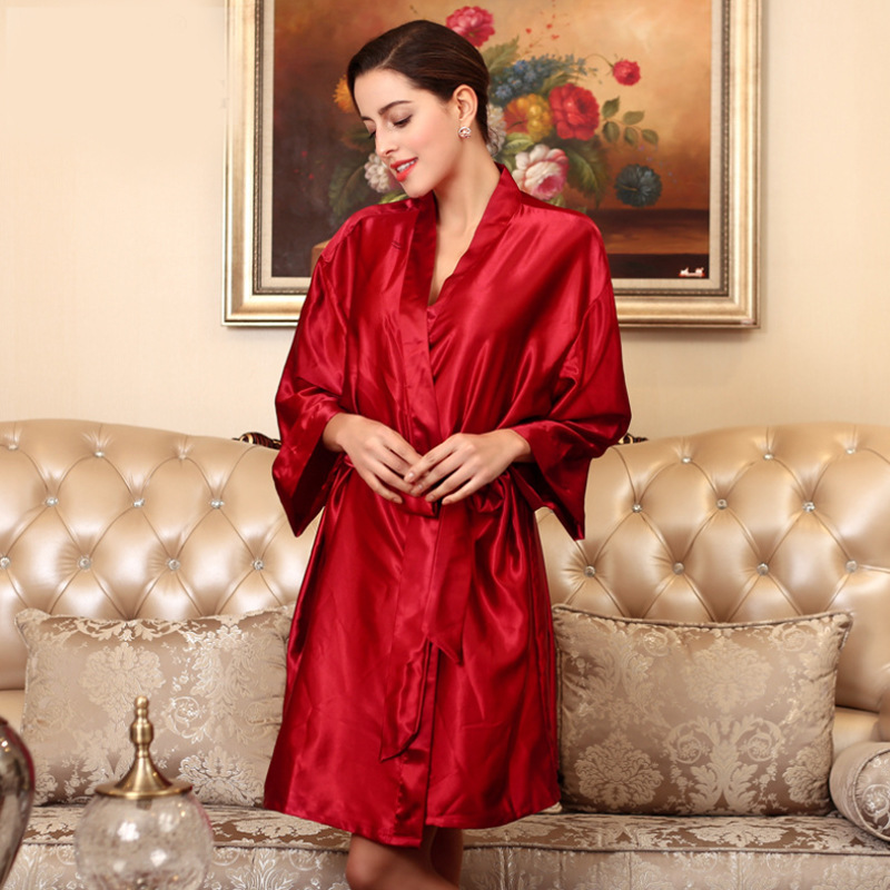Woman Bathrobe Pajamas Silk Bridesmaid Bride Robe Sexy Women Long sleeve Satin Wedding Kimono Robes Sleepwear Nightgown Dress