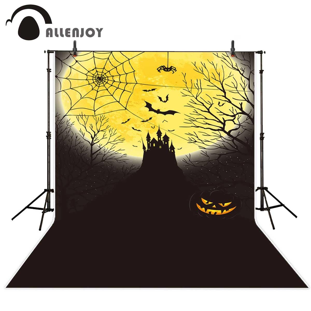 Allenjoy Halloween backdrop decoration castle moon spider web bats evil pumpkin photography background fond studio photo  цена и фото