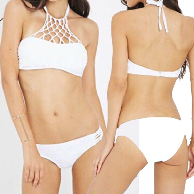 2ddfd834f8 Net Mesh Halter Top Swimsuit women Crochet Swimwear High Neck Push Up Bra  Biquini Sexy Beach Bathing Suits Mallas Mujer Bikinis-in Bikinis Set from  Sports ...