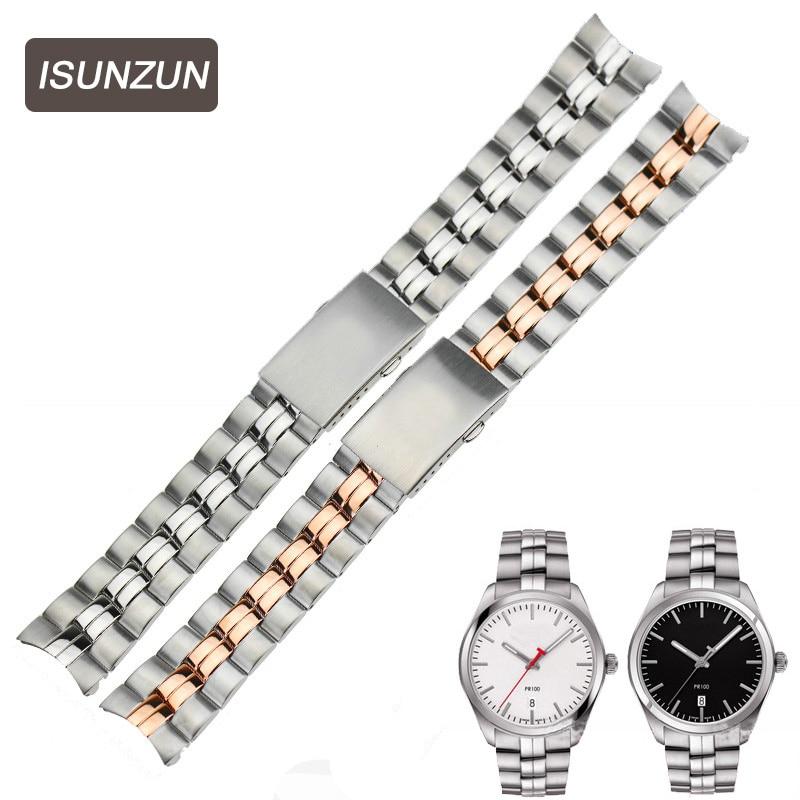 ISUNZUN Top Standard Stainless Steel Watch Strap For Tissot 1853 PR100 T101.410 T101.417 Male 20mm Width Quartz Watch Strap все цены
