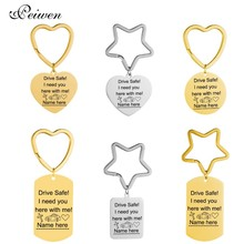 Stainless Steel Keychain Star Heart Circle For Driver Dog Tag Round Heart Pendant Drive Safe Key Chain For Women Men Keyring game metro 2033 keychain letter metro exodus skull dog tag pendant key chain for men car keyring llaveros jewelry