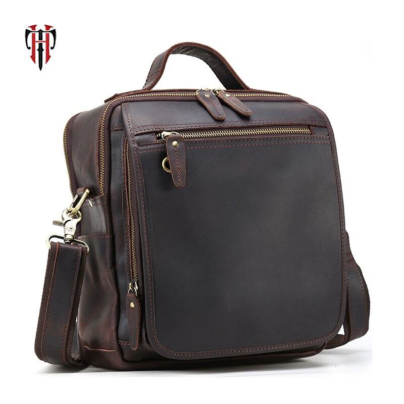 TIANHOO homme sacs Véritable boîte en cuir & vintage style crazy horse en cuir messenger épaule sacs pour voyage sac à main pour travail
