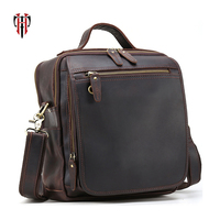 TIANHOO man bags Genuine leather box & vintage style crazy horse leather messenger shoulder bags for travel hand bag for work