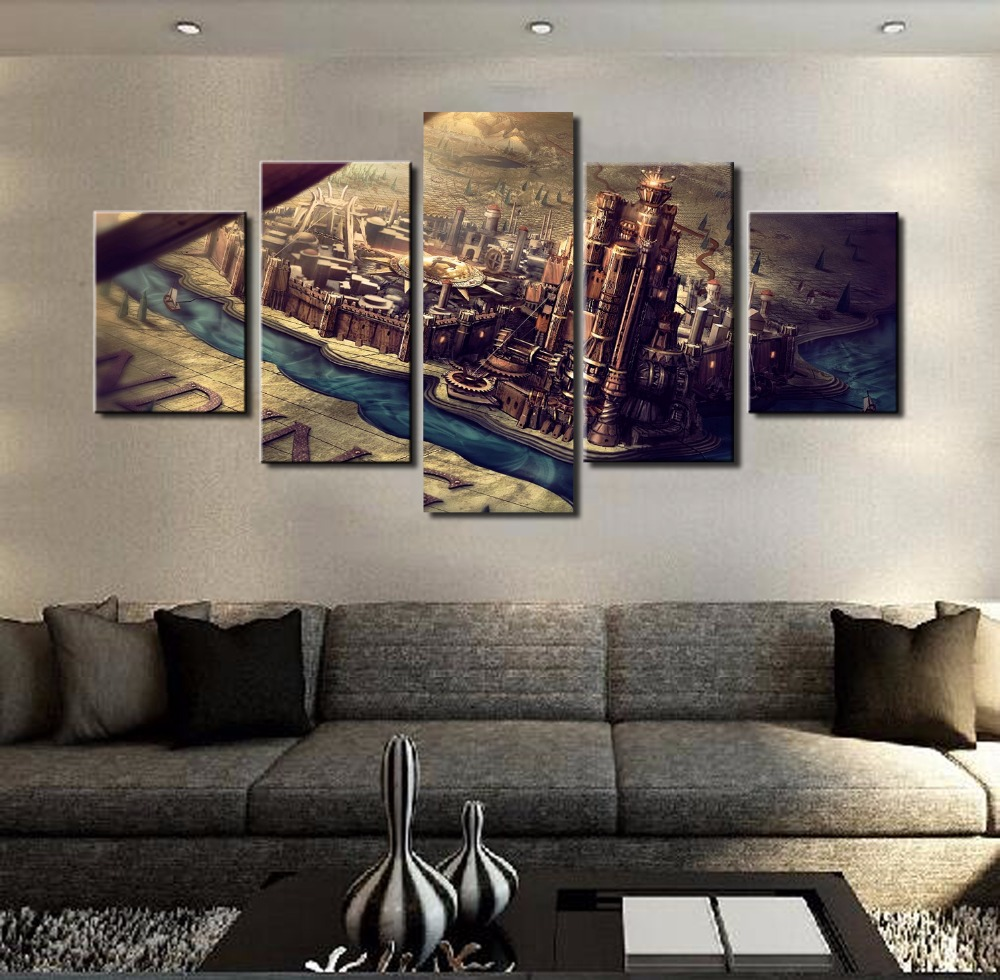 Framed Modern Home Decor 5 Panel Game Of Thrones Castle Canvas Print Painting Wall Art Picture For Living Room Modular Picture