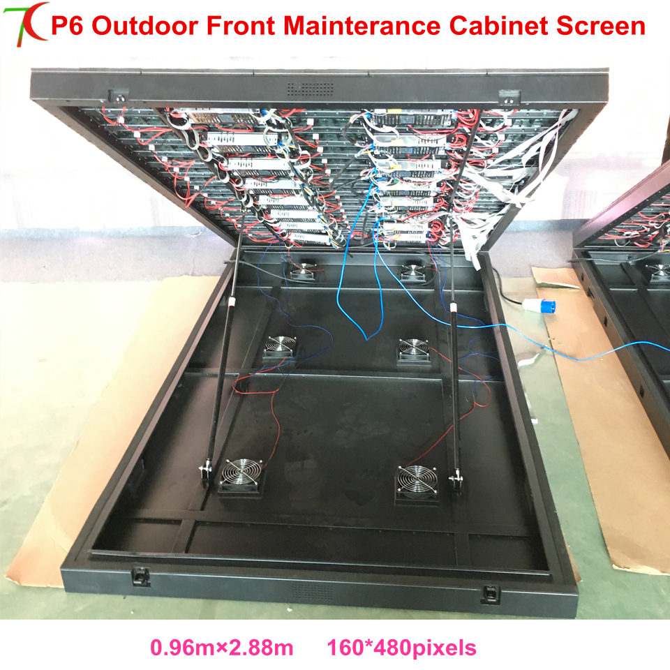 China Factory Sales Front Mainterance Customizable  P6 Outdoor Waterproof Metal Equipment Cabinet Display Advertisement Screen