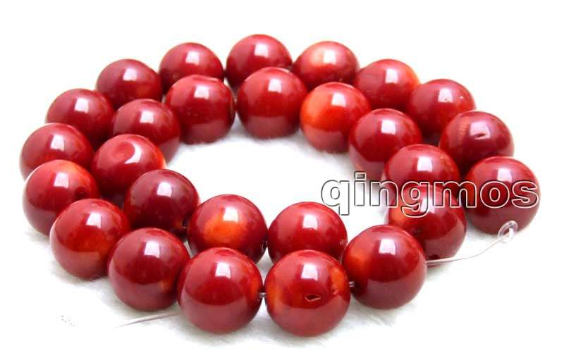 SALE Big 14-15mm round High quality Red natural Coral loose beads strand 15-los641 wholesale/retail Free shipping qingmos 14 15mm high quality 100% round orange natural coral beads for jewelry making necklace bracelet loose strand 15 los32