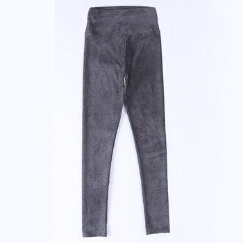 2020 spring autumn suede leather women pants high waist large elastic slim retro for - sale item Pants & Capris