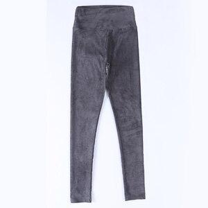 Image 1 - Pantalones de cuero de gamuza para mujer, pantalón ajustado, elástico, de cintura alta, estilo retro, Otoño Invierno, 2019