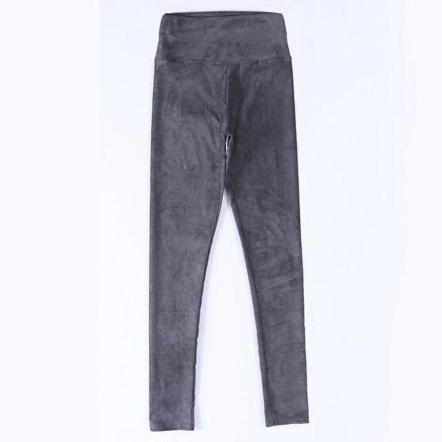 Pantalones de cuero de gamuza para mujer, pantalón ajustado, elástico, de cintura alta, estilo retro, Otoño Invierno, 2019