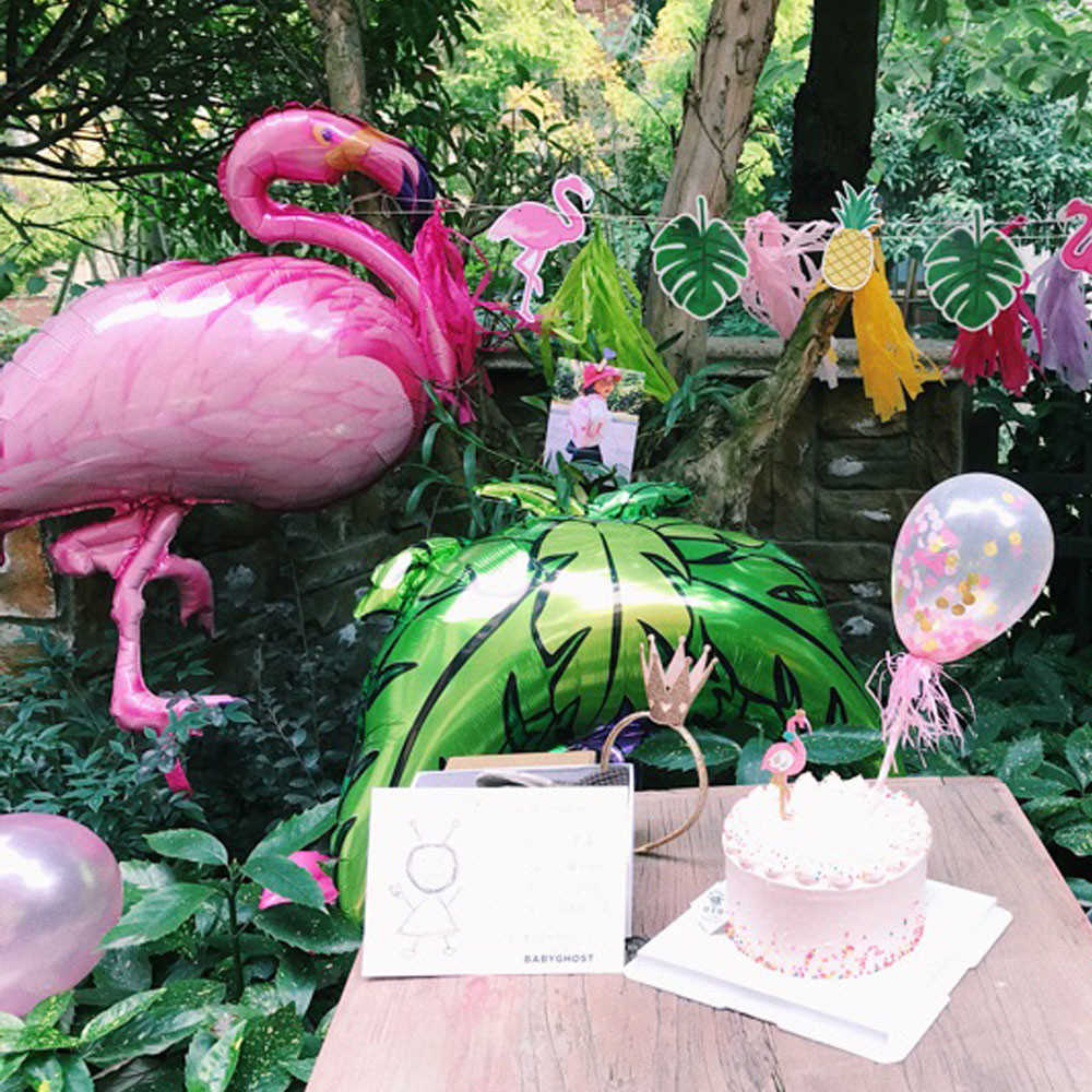 Decoration Anniversaire Hawaii Wedding Decorations Summer Hawaii Party Decor Supplies Palm Leaves Hawaiian Party Jungle Beach Flamingo Pineapple Balloon Decora