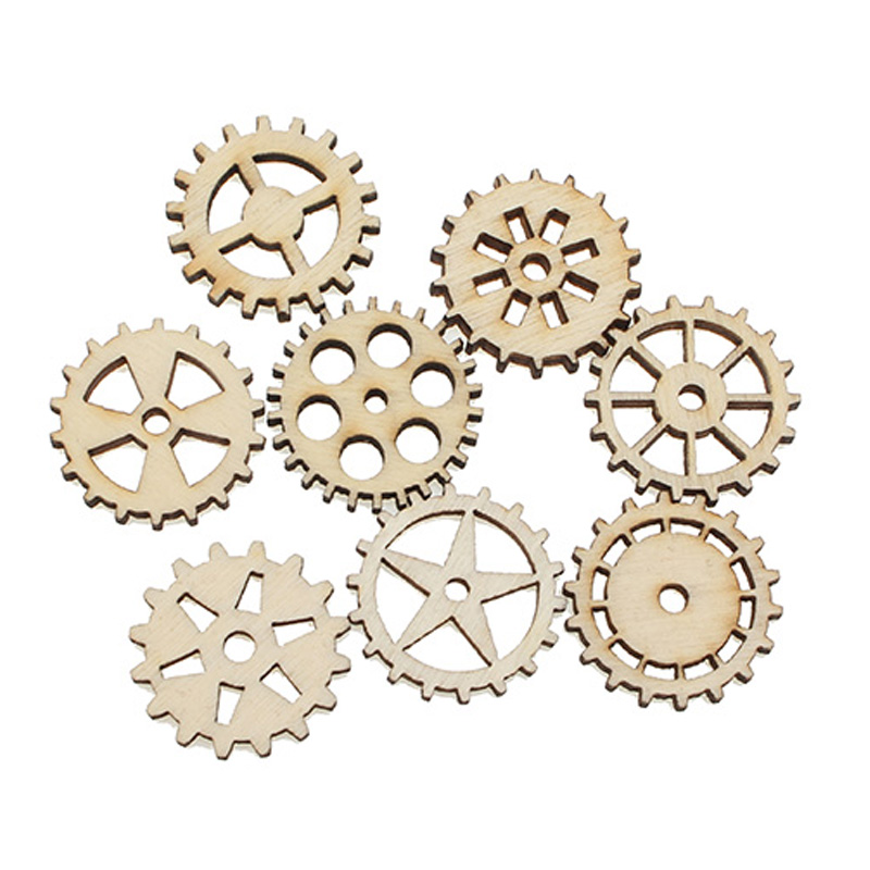 50Pcs 25mm Woody Mixed Round Gear Wooden Crafts Embellishments MDF Unfinished Wood Scrapbooking For Craft Decoration Diy