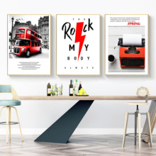 Black And White Europe Type Street Scenery Hangs The Picture Red Bus Decoration Sitting Room Wall Dining