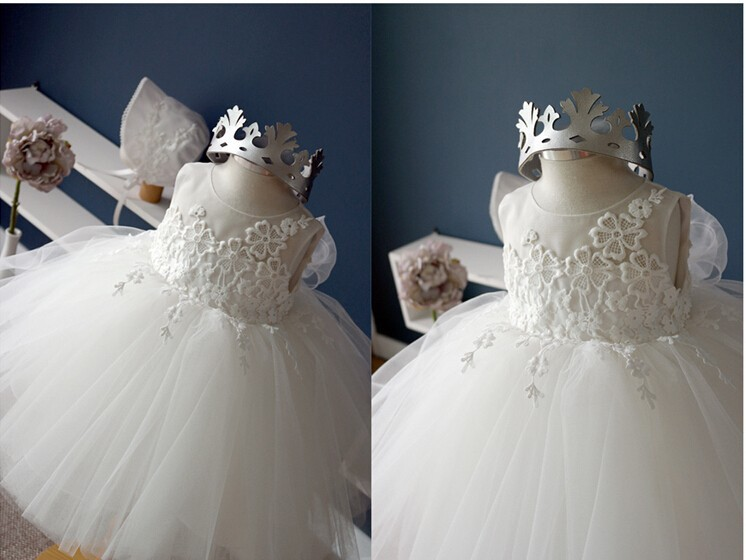 2015 New White Lace Tulle Flower Girl Dress Little Princess ...