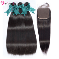 Piaoyi Hair Extensions Peruvian Straight Hair Bundles With Closure 28 30 32 inch Human Hair Bundles With Lace Closure Remy Hair