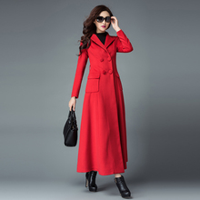 2016 Autumn and Winter New Fashion Women's Elegant Outwear Plus Size Double Breasted Female Overcoat Long Wool Blend Coat Red