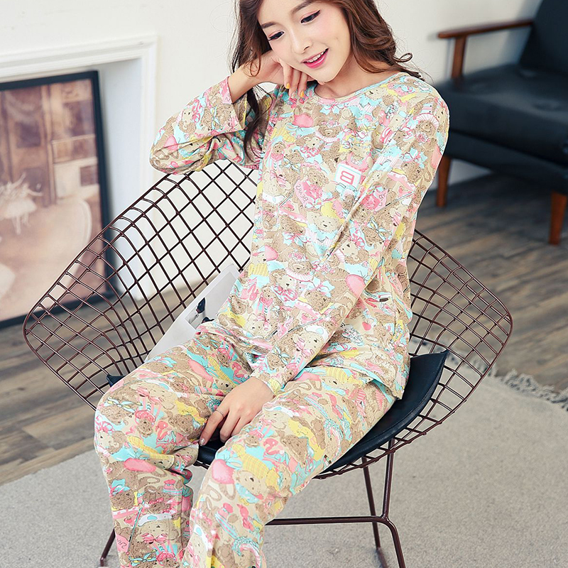 Wholesale Pajamas Sets Spring Autumn 22 Style Thin Carton Generation Women Long Sleepwear Suit Home Women Gift Female Sleepwear 23