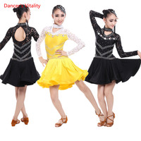 Long sleeve Lace dress Deluxe diamond Girls Latin Dance clothes for Child/Girls Cha Cha/Rumba/Samba Dance performance costumes