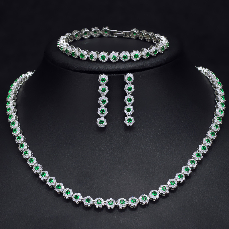 Green cubic zirconia necklace earring and bracelet jewelry set