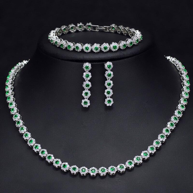 Grün zirkonia halskette, ohrring und armband schmuck set-in Schmucksets aus Schmuck und Accessoires bei  Gruppe 1