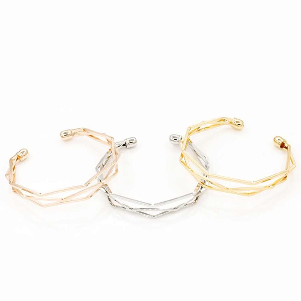 Dincior Creative 3D Geometry Open Bracelets Bangles Rose Gold Stainless Steel Hollow Out Cuff Bracelt Pulseira Feminina Braslet