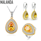 MALANDA New Excellent Zircon Crystal from Swarovski Necklaces Earrings Rings Set For Women Fashion Wedding Luxury Jewelry Sets