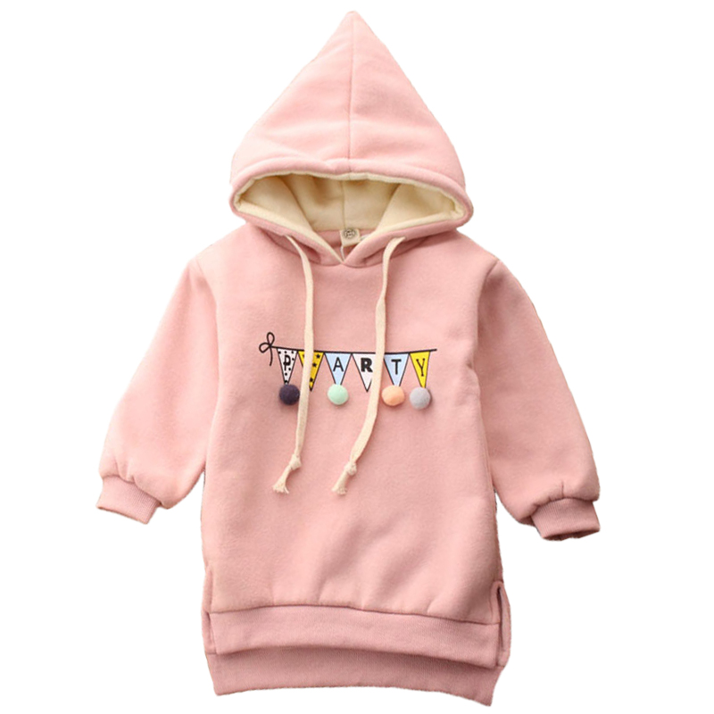 DFXD 2017 Autumn Winter Baby Girl Sweashirt Long Sleeve Print Hooded Outwear Kids Thicken Long Cotton Casual Hoodies Top 2-8Y pink casual sleeveless hooded top