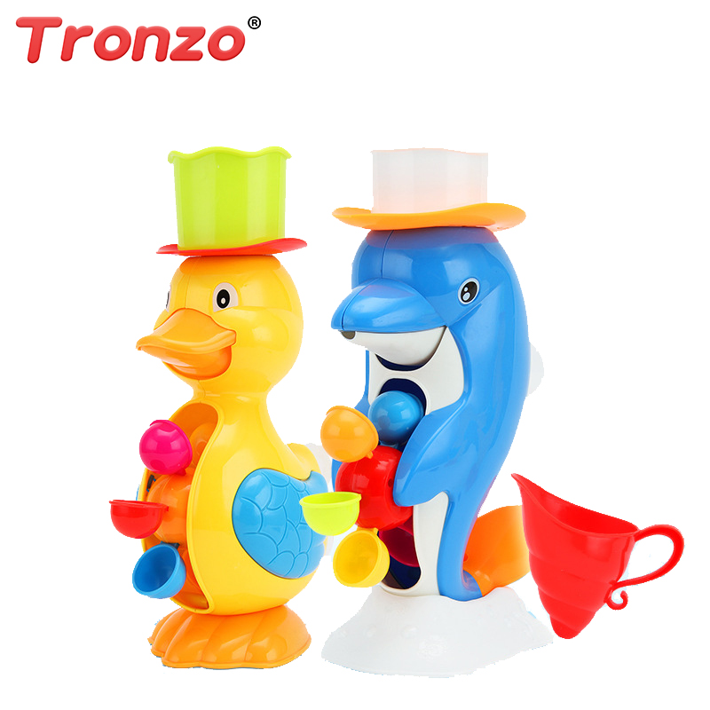 Tronzo Baby Bath Toys Kawaii Dolphin Duck Water Spraying Toy Funny Sucker Toys In Bathroom Children Bath Duck Drop Shipping
