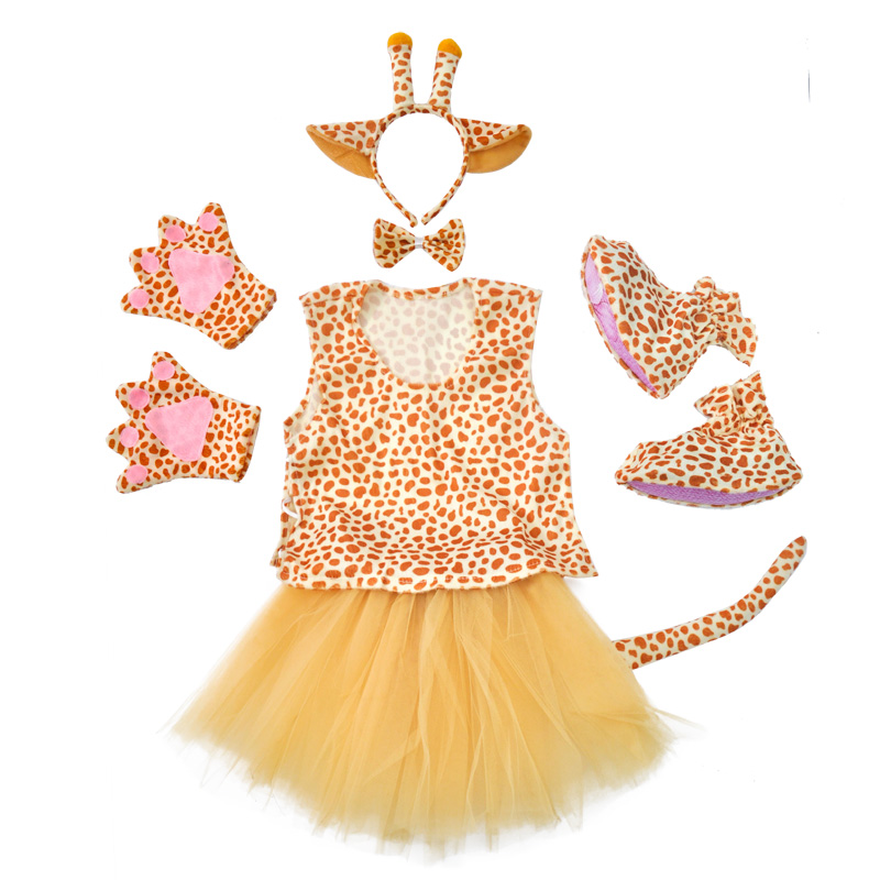Children's Day Giraffe Party Costume Suits Tutu Dress for Girls Pants for Boys Animal Cosplay Costumes with Shoes for Halloween