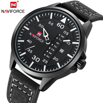 NAVIFORCE Quartz Watches Men Fashion Wristwatch Week Display Leather military Saat Waterproof Male Clock Relogio Masculino 9074 image