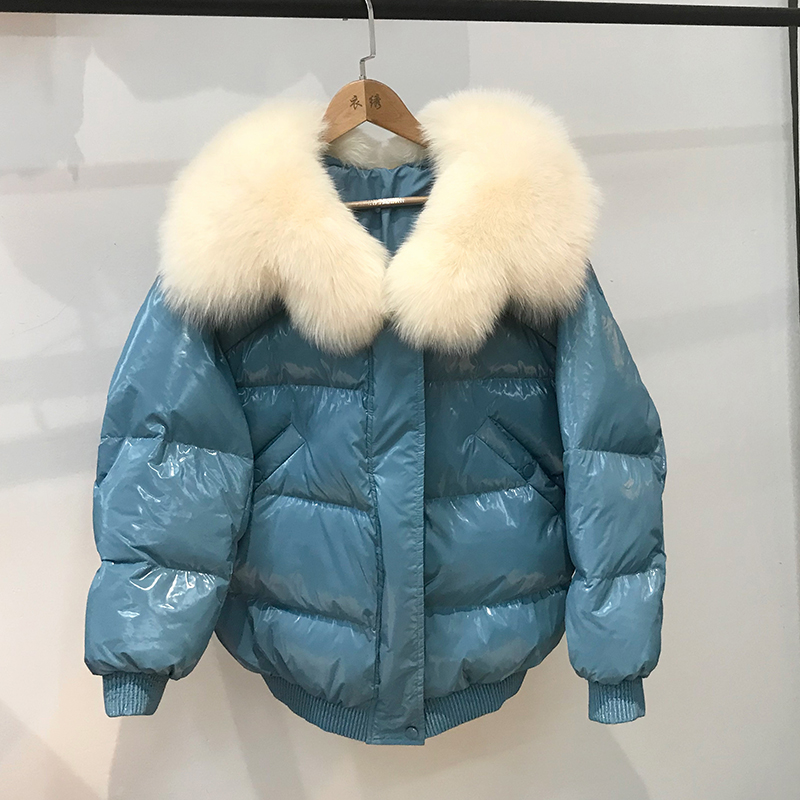 Large Real Fox Fur Collar 2019 Winter   Coat   Women 90%White Duck   Down   Jacket Women Loose Warm   Down   Parka Overcoat Female Outerwear