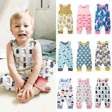 Adorable Cartoon Newborn Baby Romper Infant Toddler Boy Girl Sleeveless Jumpsuit One-piece Cotton Outfit Clothes недорого